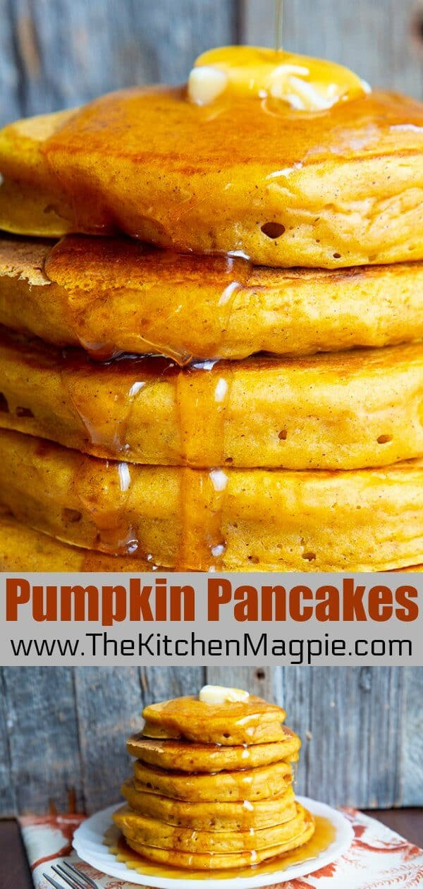 "These pumpkin pancakes were dubbed ""stupid good"" and the name stuck. These are really the best pumpkin pancakes! #pancakes #buttermilkpancakes #pumpkin #cinnamon #pumpkinspice #pancake #pumpkinpancakes"