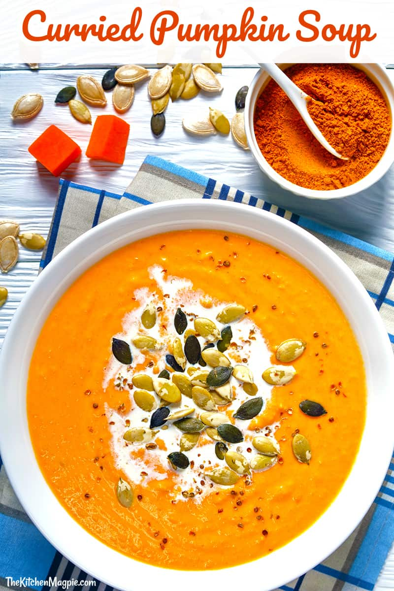Curried pumpkin soup! This decadent soup is perfect for fall with it's slight hint of curry and wonderful pumpkin taste! #pumpkin #recipe #soup #curry