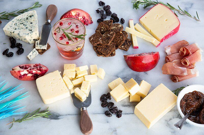 Festive Holiday Cheeseboard - sharp, tangy, flavourful cheese