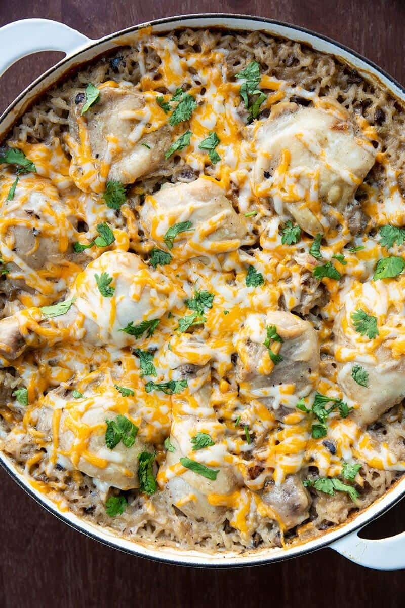 close up Chicken & Rice Casserole with melted sprinkled cheese on top