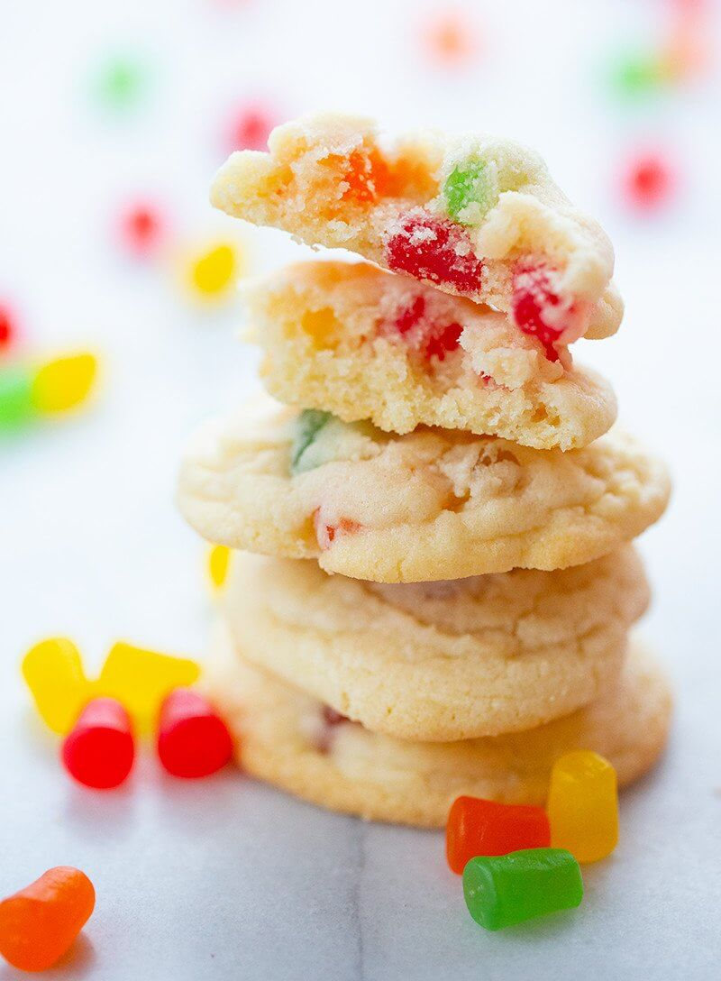 close up stack of Gumdrop Cookies, some pieces of gumdrops on background