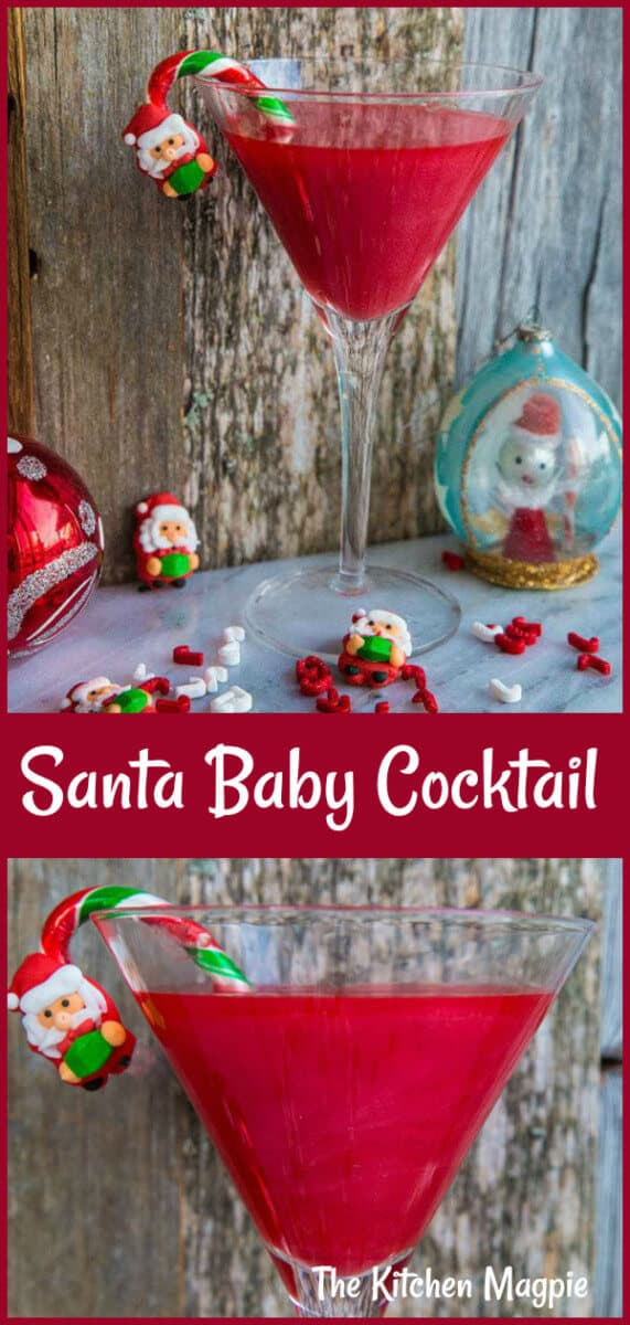 What's red, sparkly & tastes like strawberries? My new Shimmery Santa Baby Cocktail! This is THE cocktail for Christmas! #cocktail #christmas #strawberry