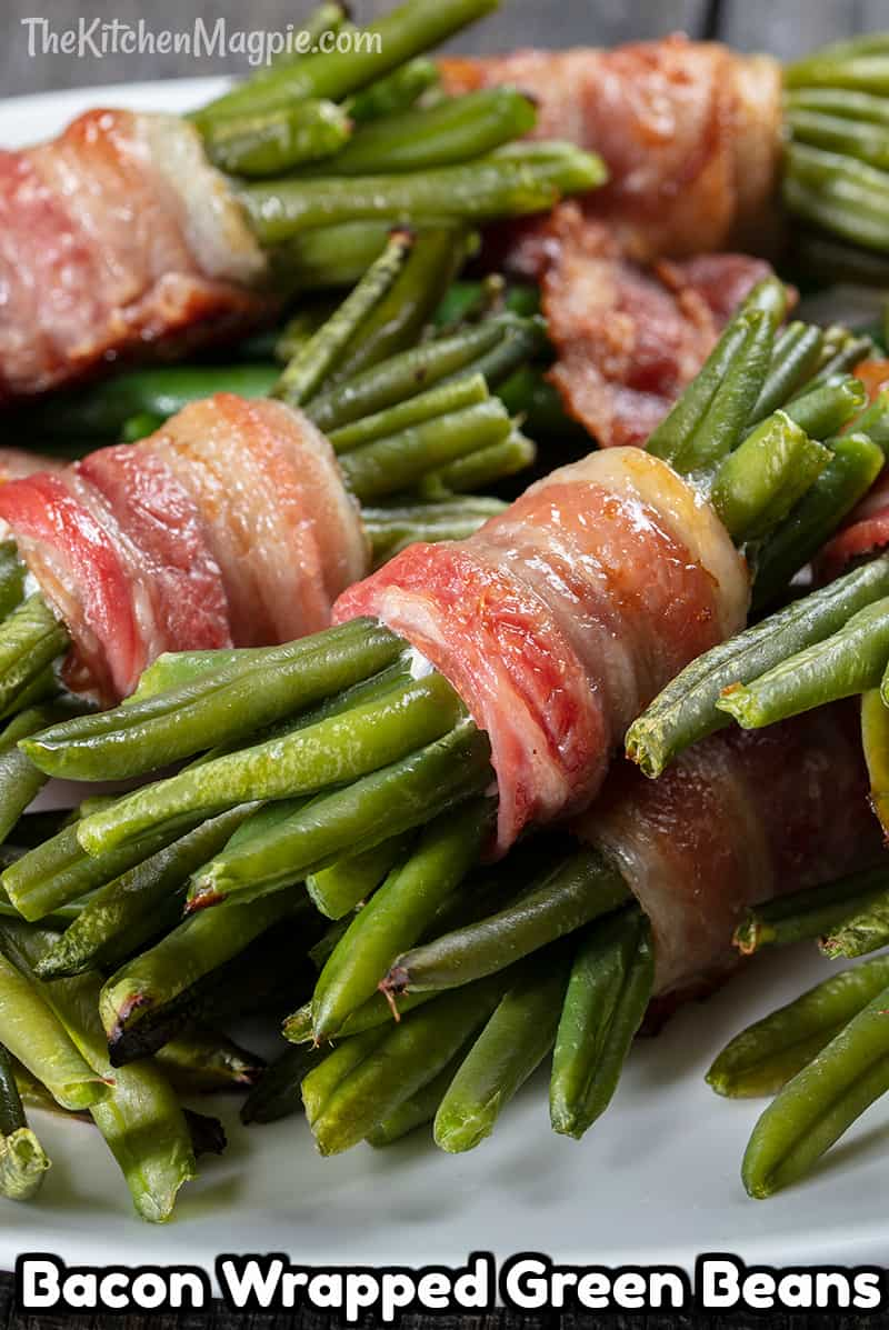 These bacon wrapped green bean bundles are the ultimate, surprise appetizer for a party, people will be amazed at these little creative bundles of sweet, smoky bacon, green bean goodness!