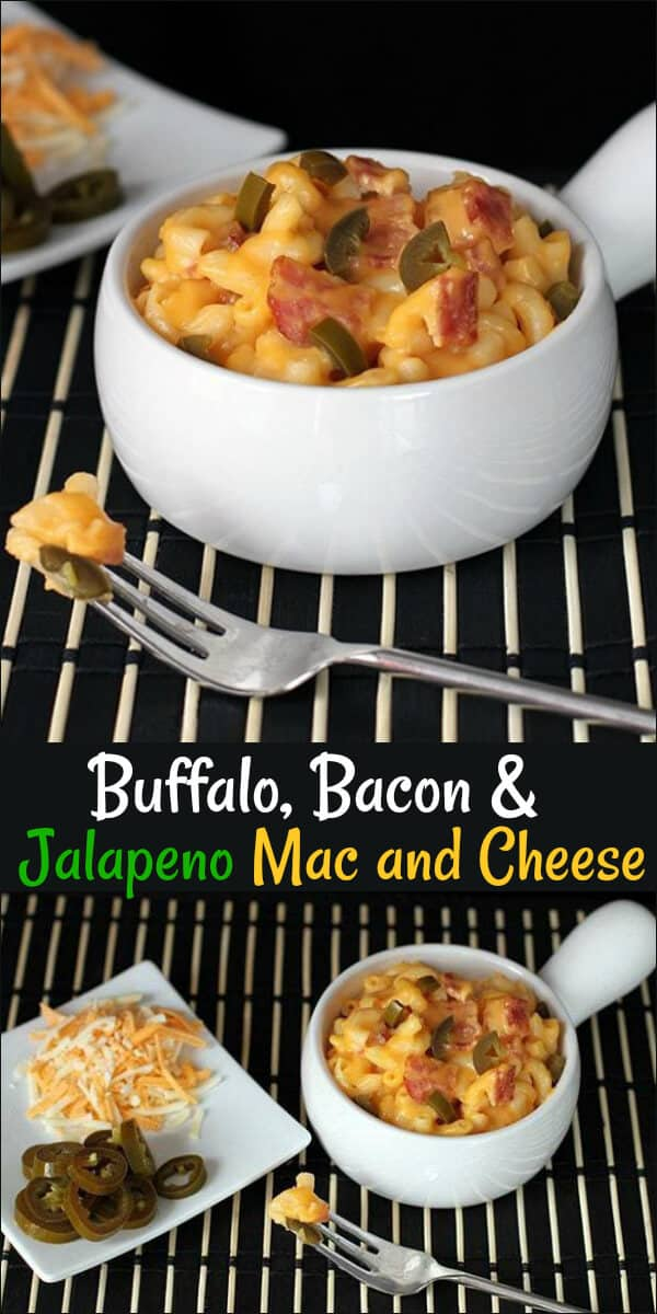 Buffalo hot sauce, bacon and jalapenos make this the best mac and cheese ever! You can leave out the hot sauce and bacon and make just jalapeno mac and cheese or any combination! #jalapeno #buffalo #macandcheese #pasta
