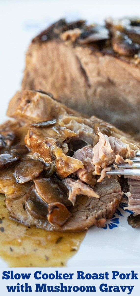 How to cook a pork butt roast, also known as a Boston butt roast, in your crock pot with a delicious mushroom gravy to enjoy as well. #pork #crockpot #slowcooker #mushrooms