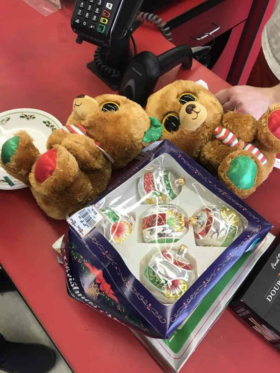 Matching Christmas Beanie Boos and a box of indented Christmas ornaments