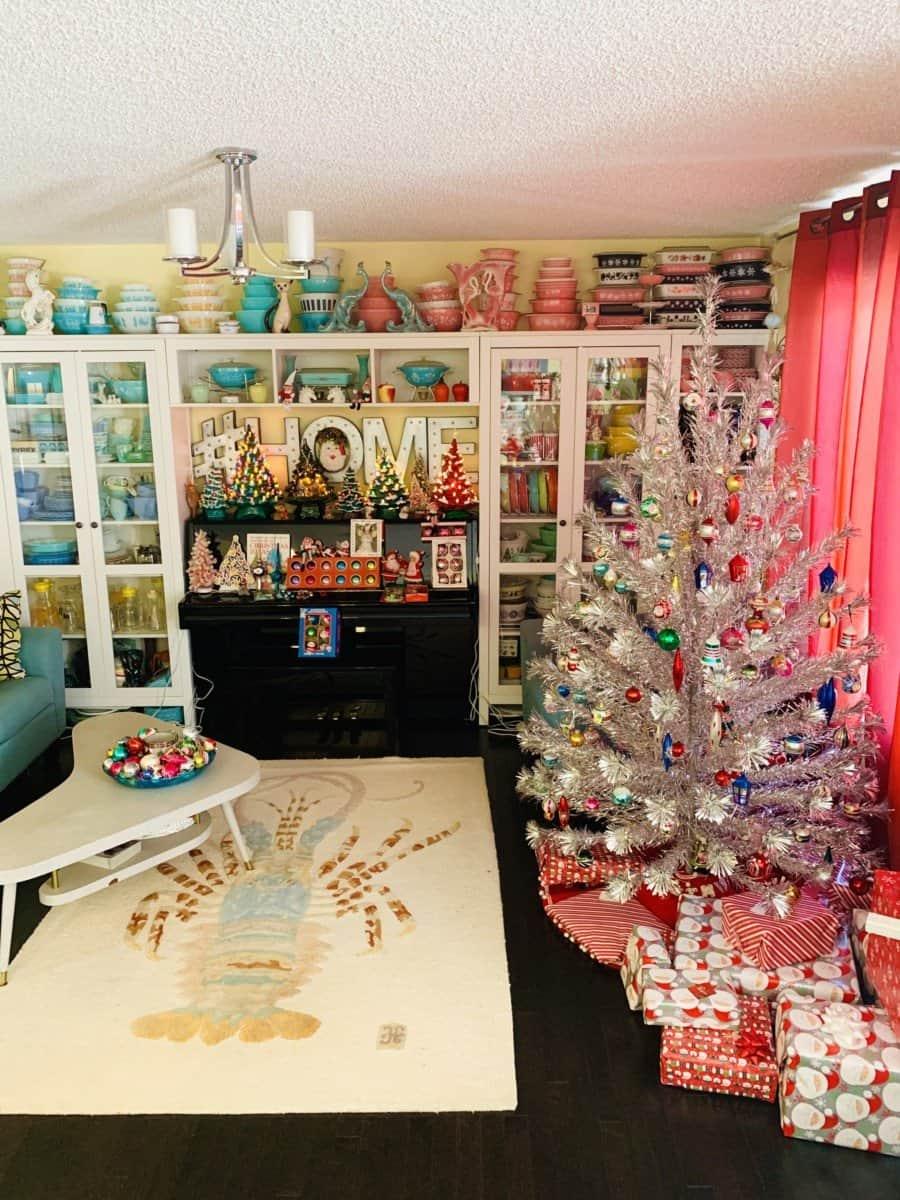 vintage aluminum pompom sparkler Christmas tree