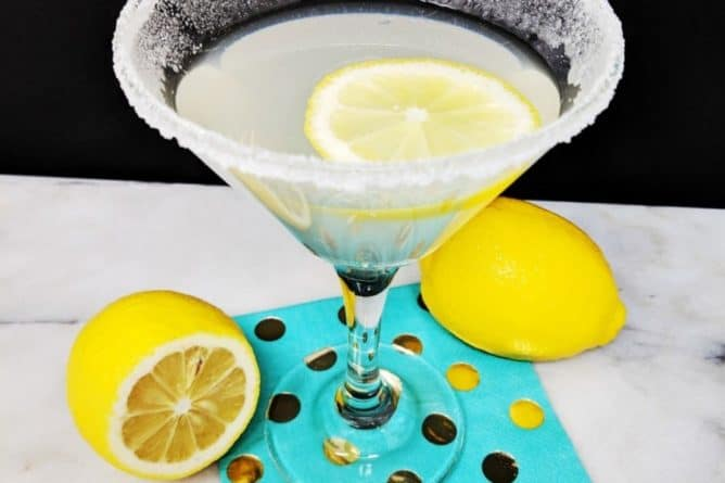 Top Down Shot of the Lemon Drop Martini