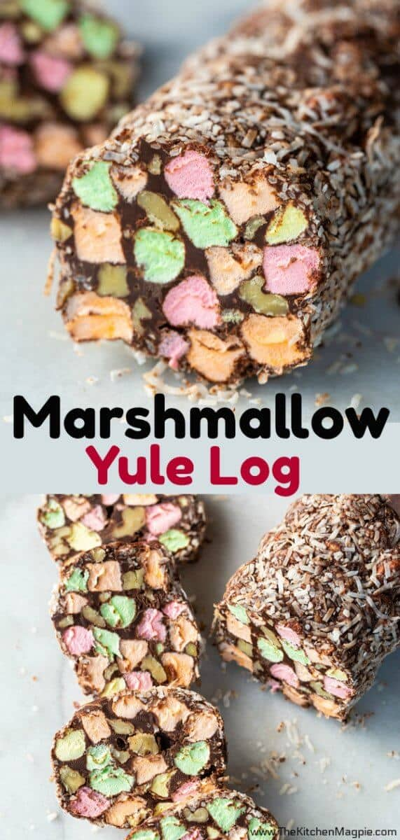 This Marshmallow Yule Log is one of my very favourite retro Christmas recipes! This treat is pure chocolate, walnut and coloured marshmallow goodness! #Christmas #YuleLog #dessert