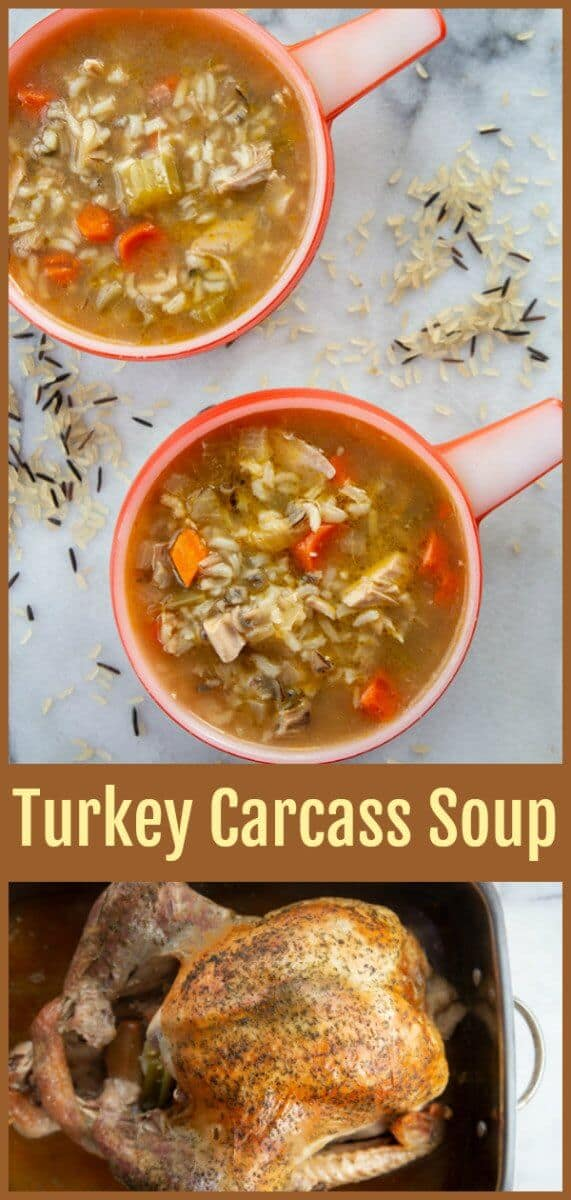 One of the best ways to use up your holiday leftovers is to make a turkey carcass soup when you are done with your roast turkey. This is a great waste not, want not recipe to make sure you are making the most out of your food! #turkey #soup #broth