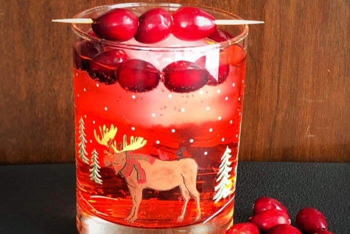 Close up of the Cranberry Rum Ginger Ale in Festive Tumbler