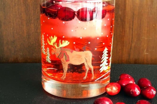 Cranberry Rum Ginger Ale in Festive Tumbler garnish with fresh Cranberries