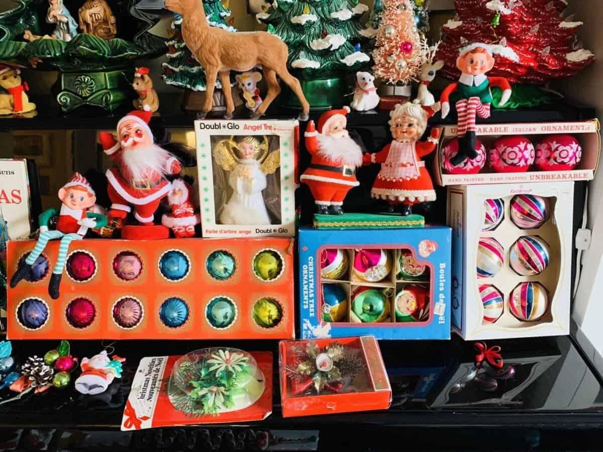 vintage Christmas ornaments display