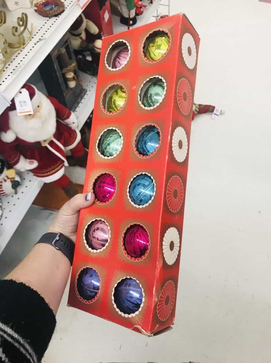 awesome box of Christmas ornaments