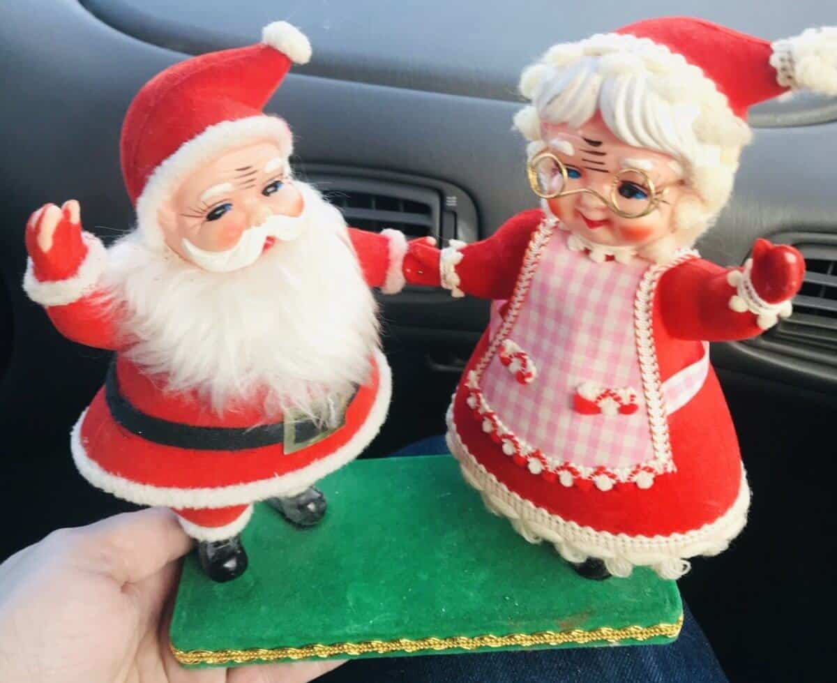 red velvet flocked Santa and Mrs. Claus standing together