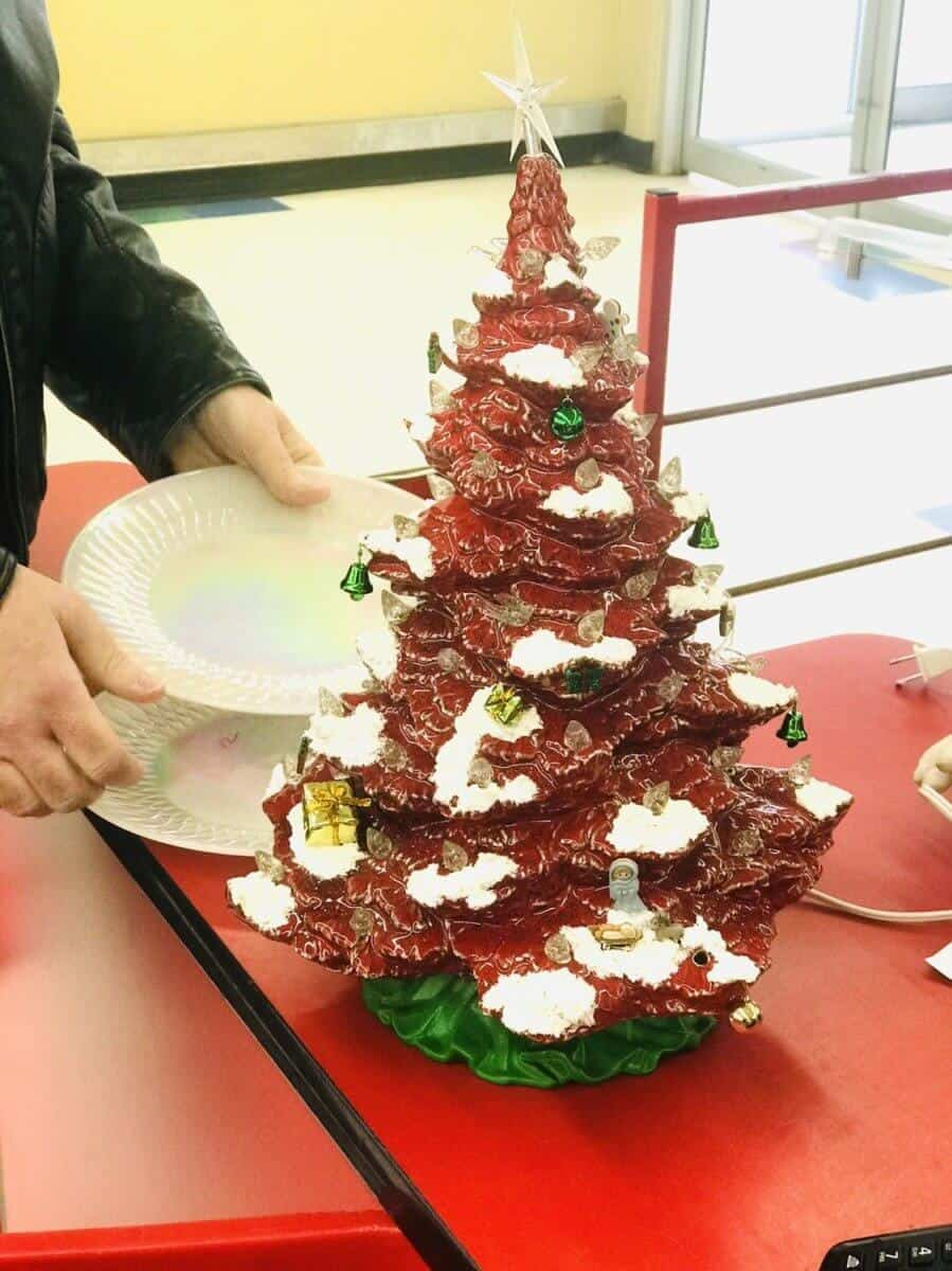 vintage red and green ceramic Christmas tree