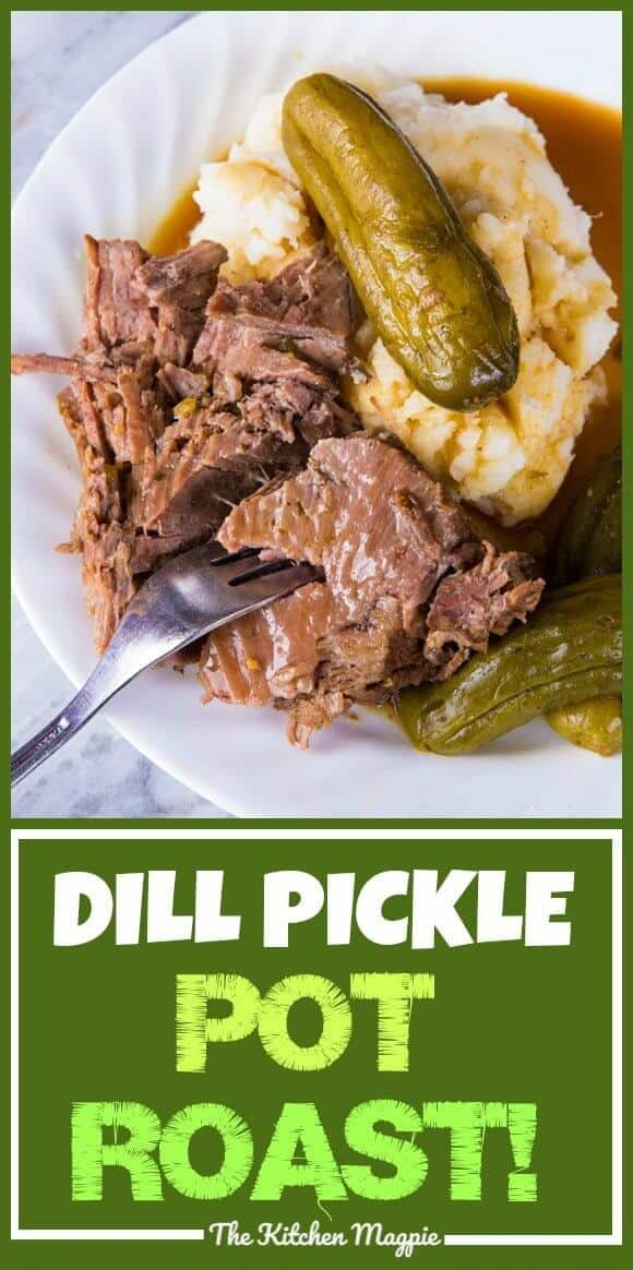 DILL PICKLE POT ROAST & PICKLE GRAVY! If you love pickles you are going to flip for this pot roast! Similar to the Mississippi Pot Roast but NOT spicy and infused with a fabulous pickle taste! Even the gravy is spectacular! #slowcooker #roastbeef #potroast #recipes