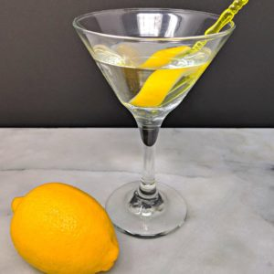 Top down shot of the Vesper Martini