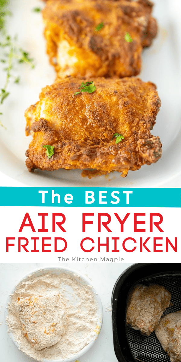 Need a delicious airfryer fried chicken recipe? Look no further, this air fryer chicken recipe is simple, delicious & the skin is so incredibly tasty! #chicken #airfryer #friedchicken