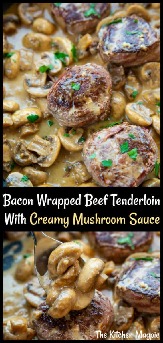 This Bacon Wrapped Beef Tenderloin With Creamy Mushroom Sauce is a mushroom lovers dream come true in an easy one skillet meal. #beef #tenderloin #mushrooms