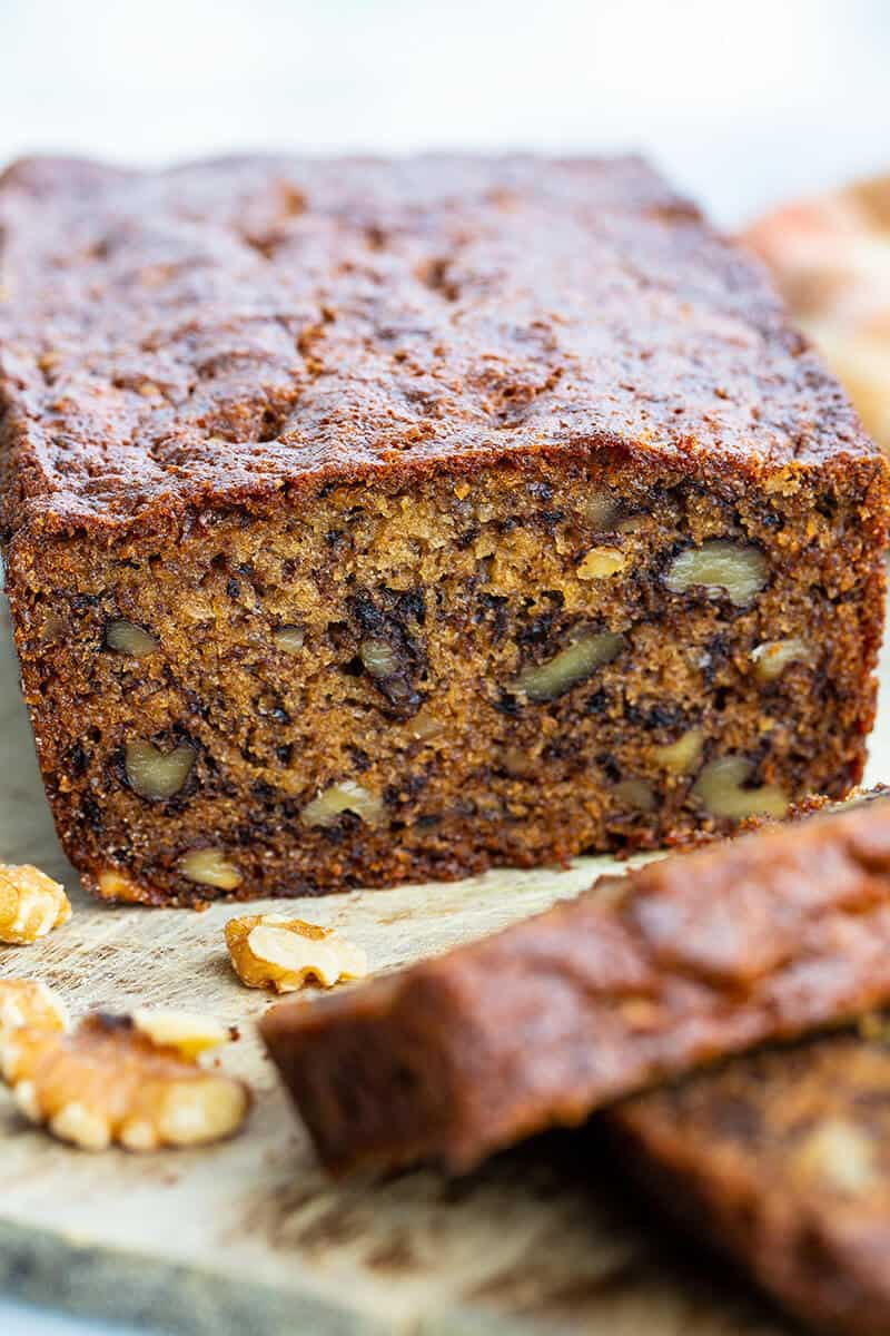close up loaf of Banana Bread with nuts