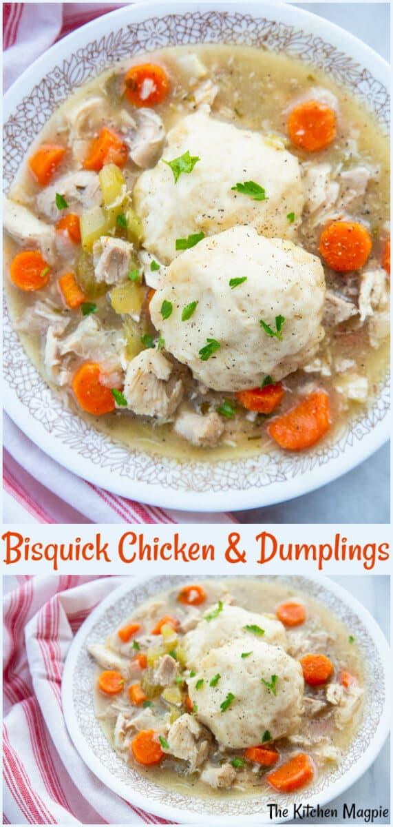 This classic Bisquick™ Chicken and Dumplings is a decadent chicken stew made with a whole chicken from scratch and is chock full of vegetables, - your family will LOVE it! #chicken #dumpling #bisquick