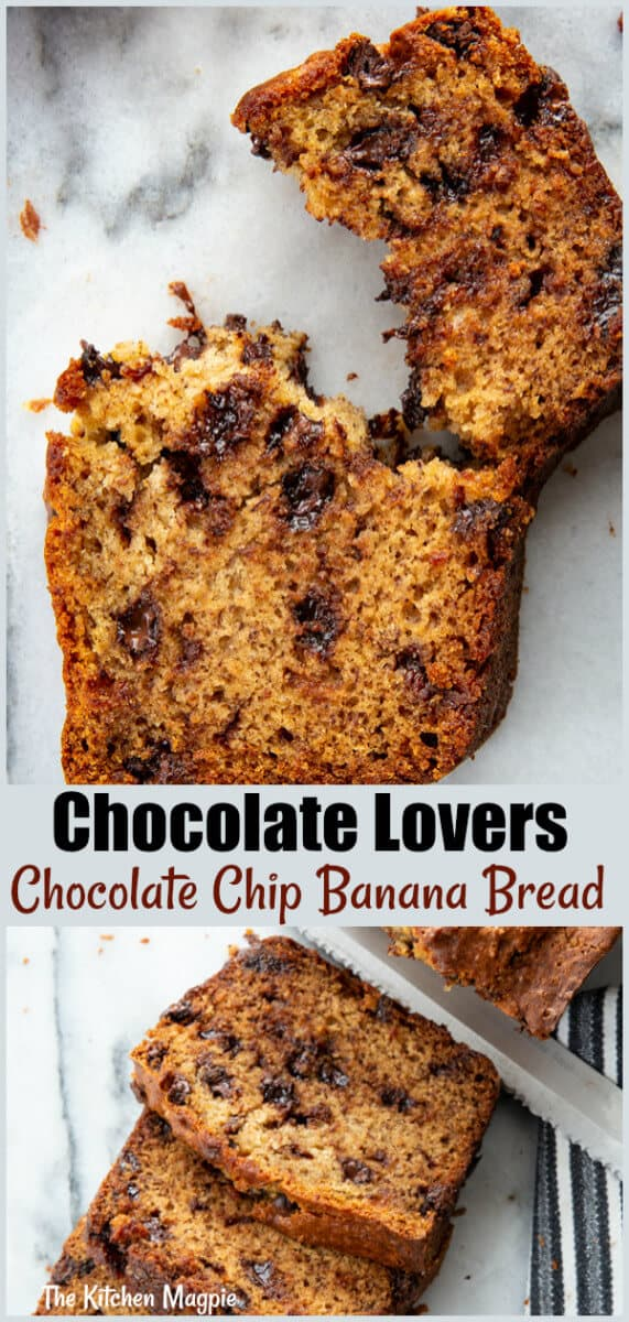 This chocolate chip banana bread recipe is loaded up with two types of chocolate, is moist, decadent and the perfect way to use up your bananas! #banana #bread #chocolate