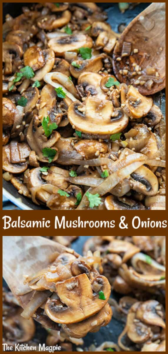 Are you a mushroom lover? Then try my Garlic Balsamic Sauteed Mushrooms & Onions for a new mushroom side dish! #mushrooms #balsamic #onions #sidedish