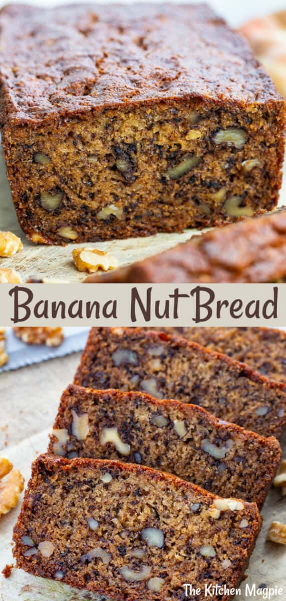 Banana Nut Bread is a thicker, denser yet still delicious and moist banana loaf that is loaded up with walnuts or nuts of your choice.  #banana #walnuts #bread #dessert #loaf #quickbread