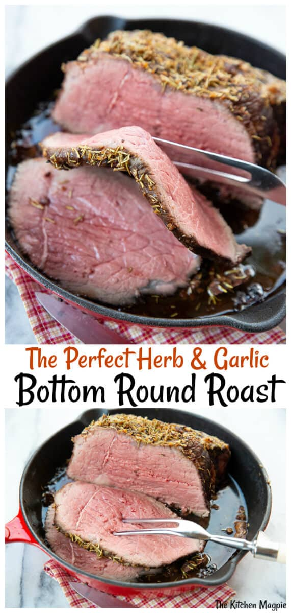 If you are looking for a quick and easy yet delicious bottom round roast recipe, you've come to the right place. This simple three ingredient recipe will leave your mouth watering. #beef #roast #garlic #butter