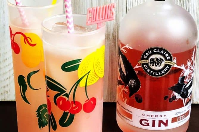 Cherry Tom Collins in a Vintage Tom Collins glass.