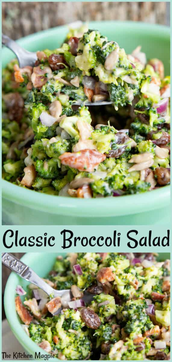 This bacon broccoli salad is a classic! The secret that makes this the best broccoli salad ever is to chop the ingredients very small, then let the salad sit overnight for max flavor! #broccoli #salad #bacon