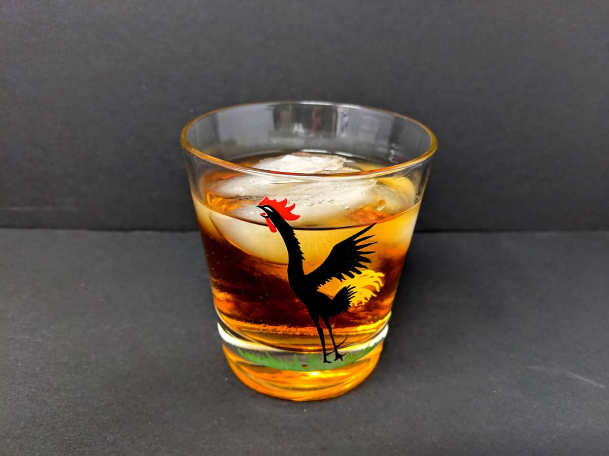 Godfather Cocktail in an old fashioned glass with large ice