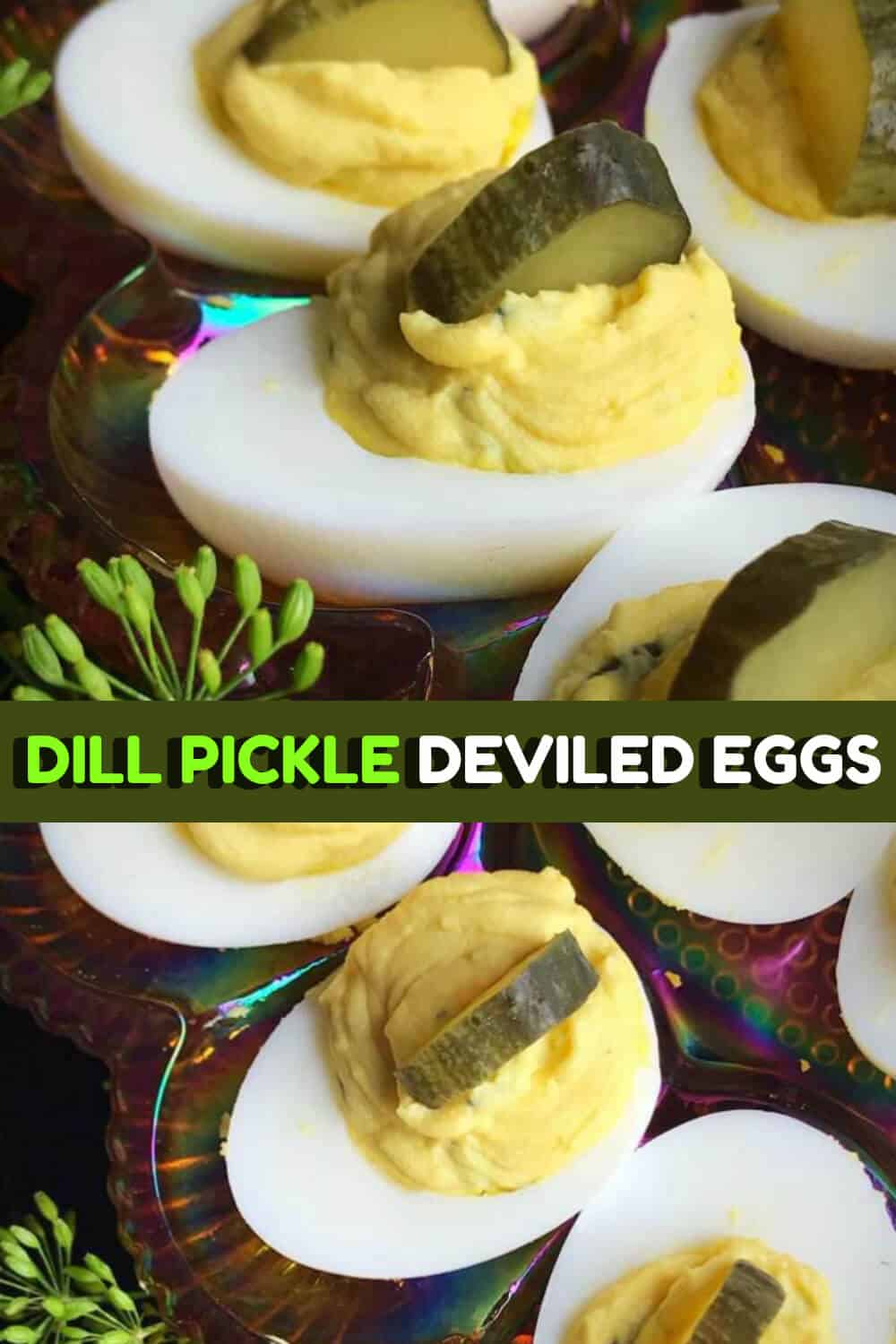 These dill pickle deviled eggs combine two of my favorite things; deviled eggs and dill pickles. They are a great bite sized snack and the perfect appetizer! #eggs #deviledeggs #pickle #dill