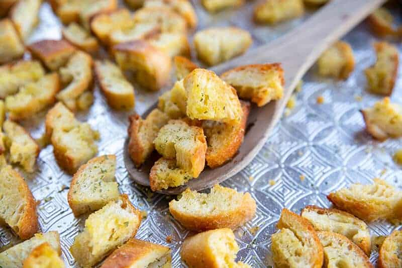 Buttery, Garlicky Homemade Croutons