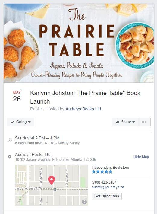 Edmonton Event for Second Cookbook, The Prairie Table