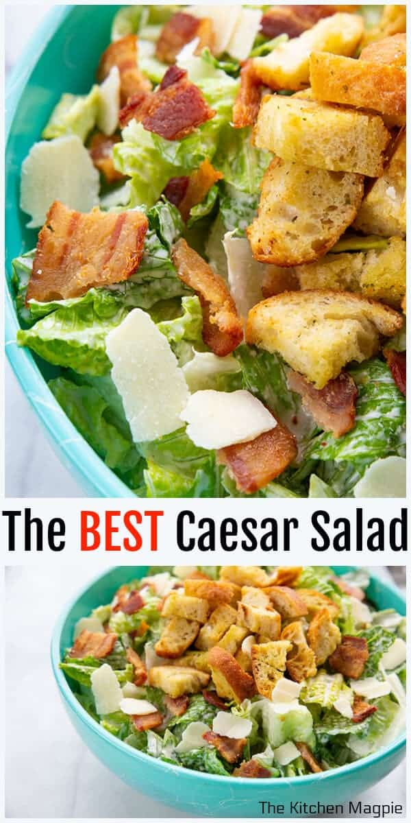 This Homemade Classic Caesar Salad has a homemade creamy Caesar dressing that uses anchovy paste, mayo, Parmesan, lemon and plenty of garlic!