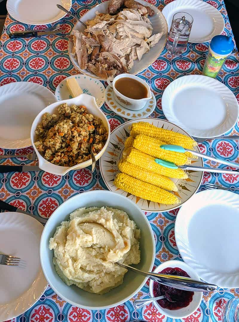 corn on the cob on a holiday table
