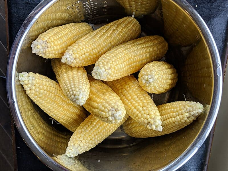 raw cobs of corn in the Instant Pot