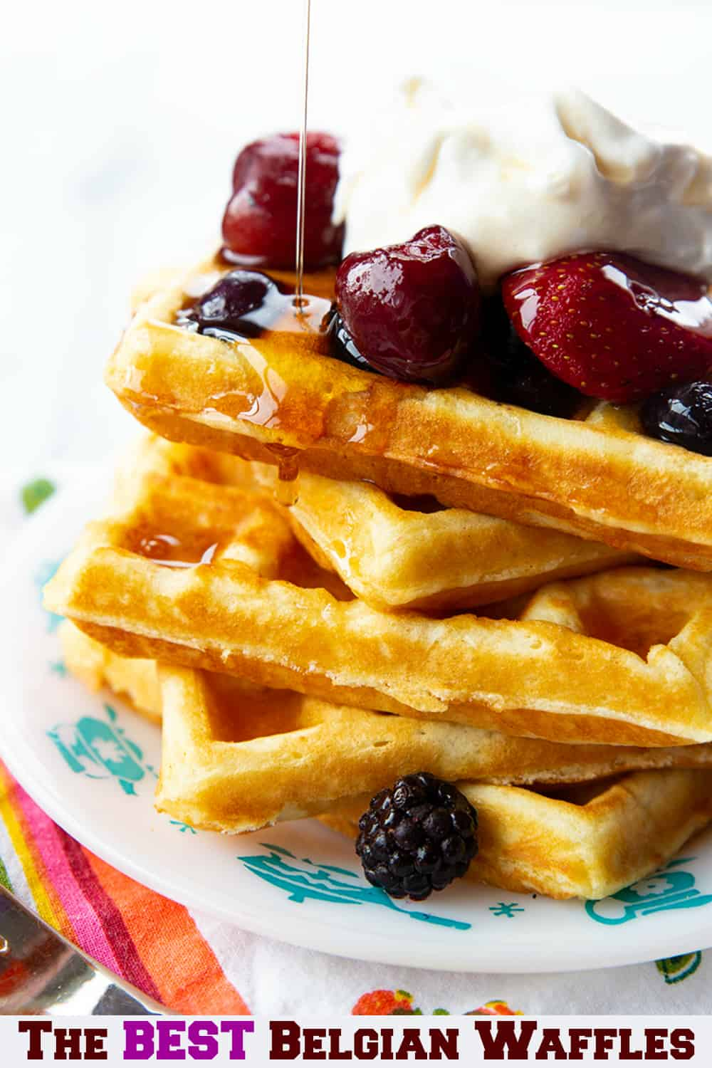 Nothing beats homemade Belgian waffles for breakfast, lunch OR even dinner! These crispy waffles are a family favorite that my own mom has been making since the 80's! #waffles #breakfast