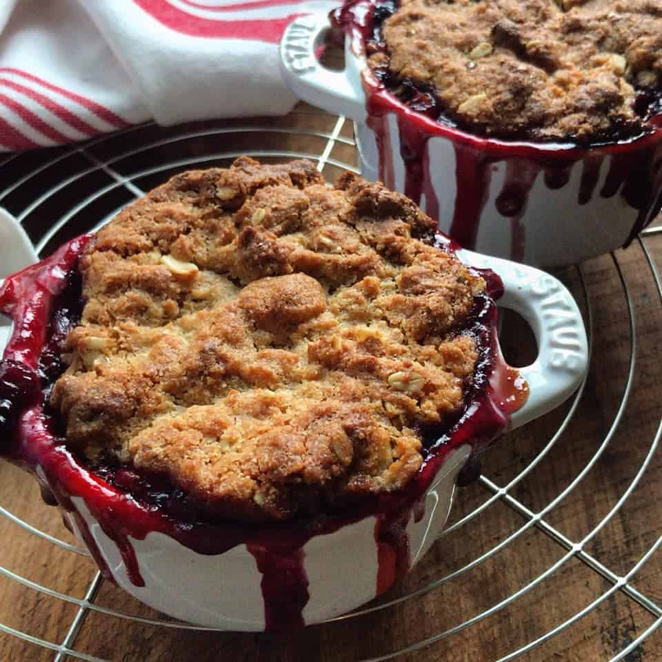 2 servings of Strawberry Rhubarb Oatmeal Bake