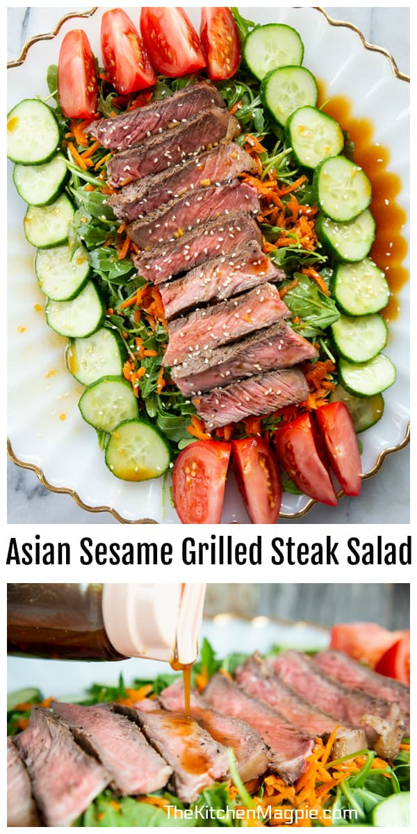 This easy and fresh grilled steak salad has a fabulous Asian salad dressing and is packed with protein and vegetables for a healthy meal! Make extra steak when you BBQ and eat it the next day on this salad!