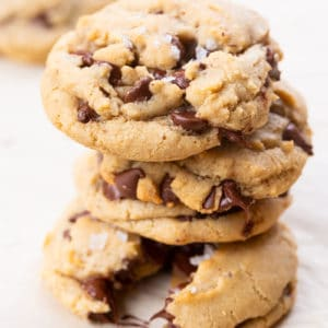 a stack of brown Butter Chocolate Chip Cookies