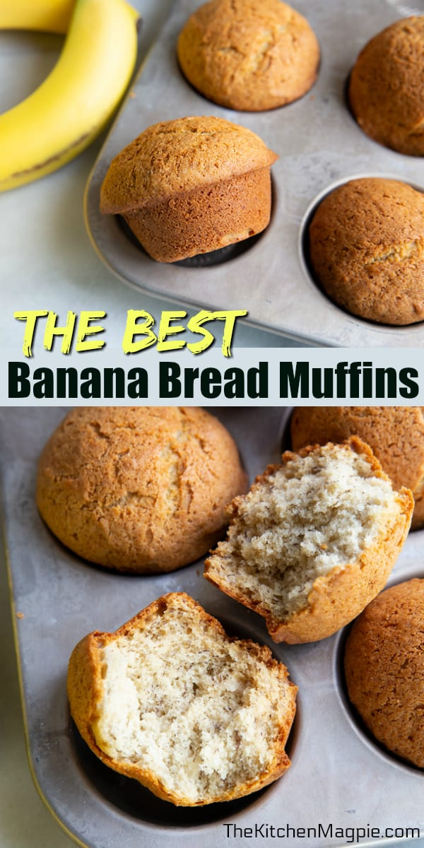 These easy and fast banana bread muffins are a delicious way to use up your ripe bananas! This recipe is so fast you can make them in the morning for breakfast before work or school. #muffins #bananas