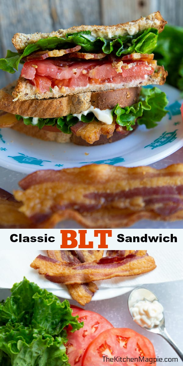 How to make a classic BLT - bacon, lettuce and tomato sandwich. These are easy, fast and can be made healthier with turkey bacon, whole grain bread and light mayo - or just eaten as is!