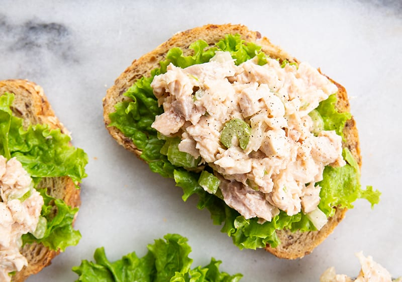 some Old-Fashioned Chicken Salad on a marble background