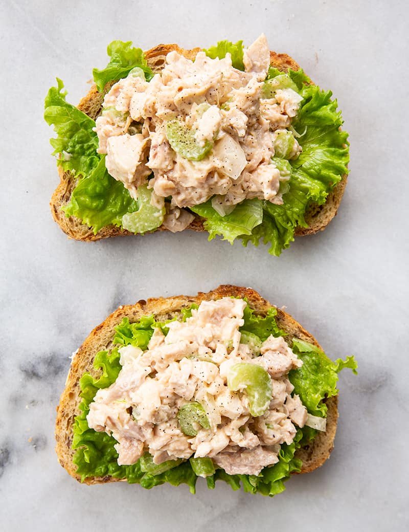 2 servings of Old-Fashioned Chicken Salad with lettuce leaf wrap