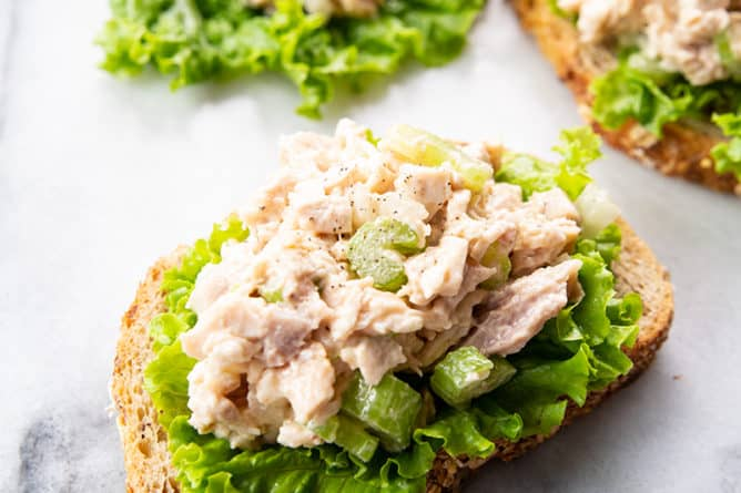 close up Old-Fashioned Chicken Salad on a marble background