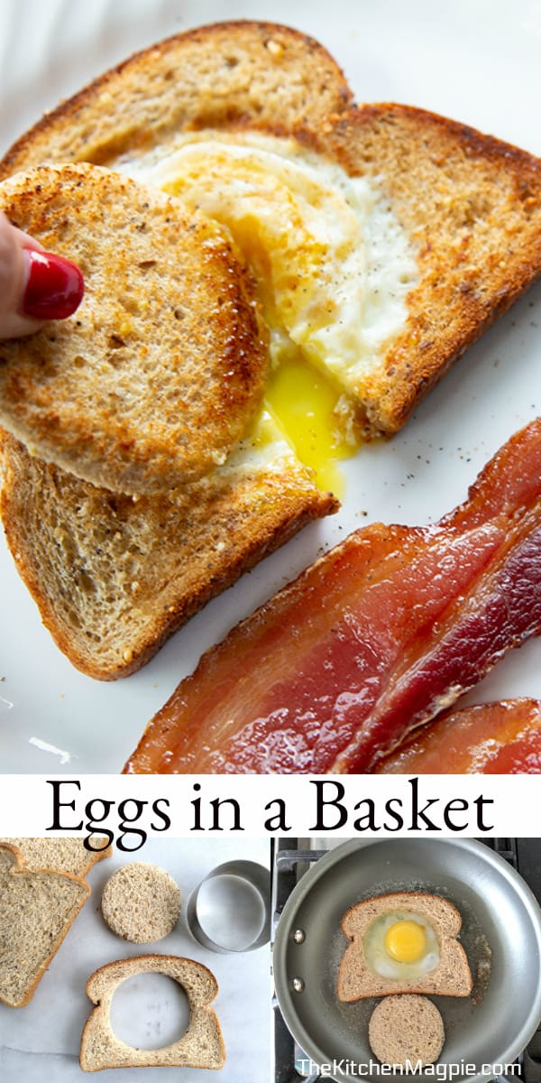 These eggs in a basket, also known as toad in a hole, are eggs cooked into the center of a piece of bread, fried in butter until golden brown and then enjoyed! #eggs #breakfast #recipes