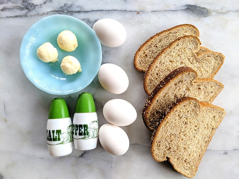 Eggs in a Basket ingredients in a marble background